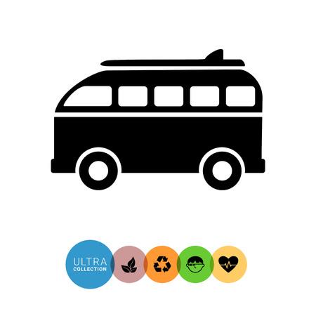 to spend the summer: Monochrome vector icon of surf board retro bus