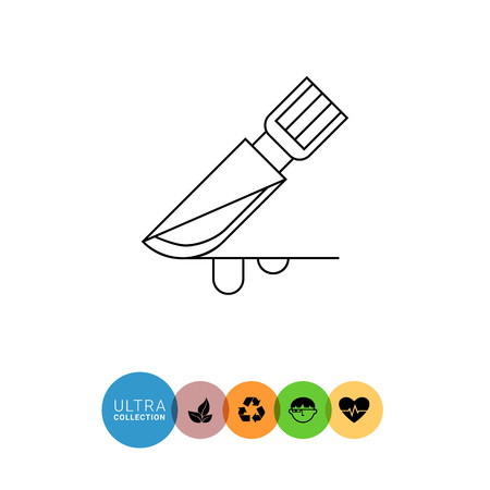 surgical: Surgical scalpel icon. Line illustration of scalpel covered with blood