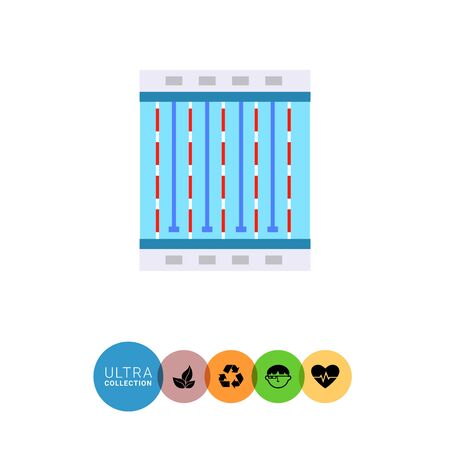 lanes: Multicolored flat icon of swimming pool with four swimming lanes, top view