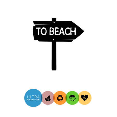 spend the summer: Monochrome vector icon of vintage wooden arrow sign To beach