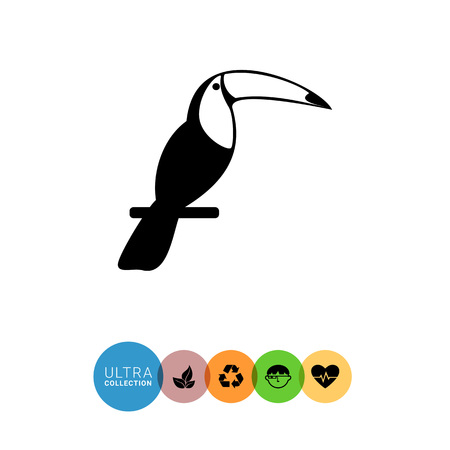 perch: Monochrome vector icon of exotic bird Toucan sitting on perch
