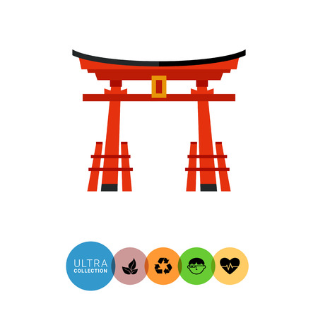 torii: Image of traditional red Japanese gate torii with black top Illustration