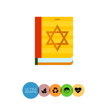hebrew bibles: Multicolored vector icon of Torah book with star of David on cover