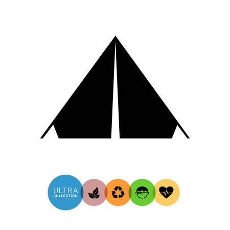 spend the summer: Monochrome vector simple icon of triangle camp tent Illustration