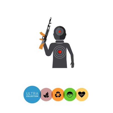 cruelty: Multicolored flat icon of terrorist silhouette with gun and targets on body