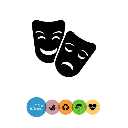 mascaras de teatro: Icono del vector de comedia y tragedia máscaras de teatro Vectores
