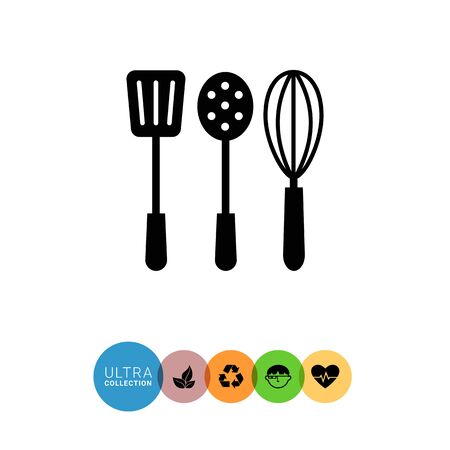 turner: Vector icon of turner, skimmer and whisk silhouettes