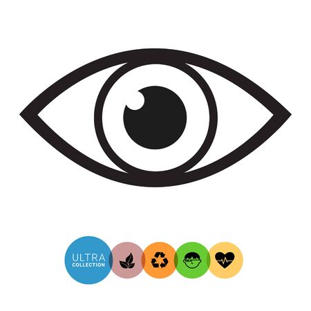 open eye: Vector icon of video monitoring represented by open human eye