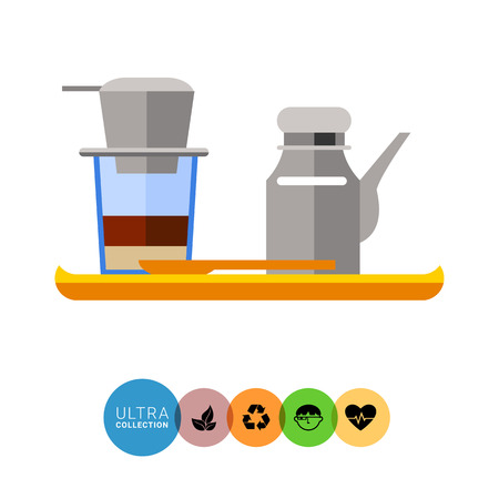 Icon of Vietnamese coffee set, coffeepot and cup with filter on it, on wooden tray