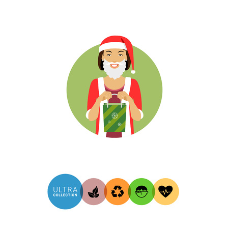 medium length: Female character, portrait of smiling woman wearing Santa costume, holding green gift bag Illustration