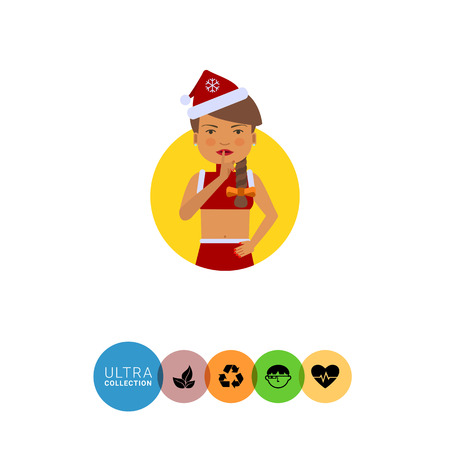 santa costume: Female character, portrait of woman in red Santa costume, showing be quiet sign