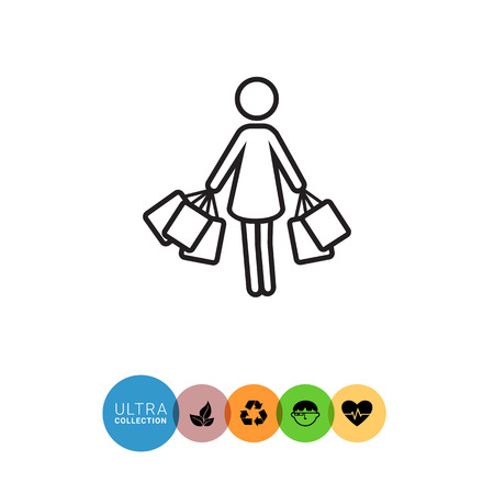 Icon of woman's silhouette carrying shopping bags