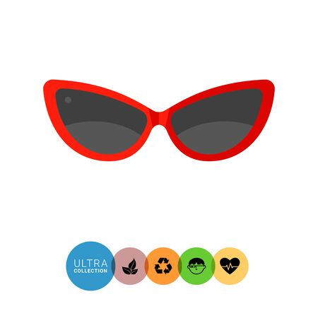 protecting spectacles: Womens sunglasses flat icon. Multicolored vector illustration of womens accessory