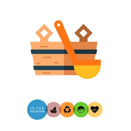 body temperature: Multicolored vector icon of wooden bucket and water scoop