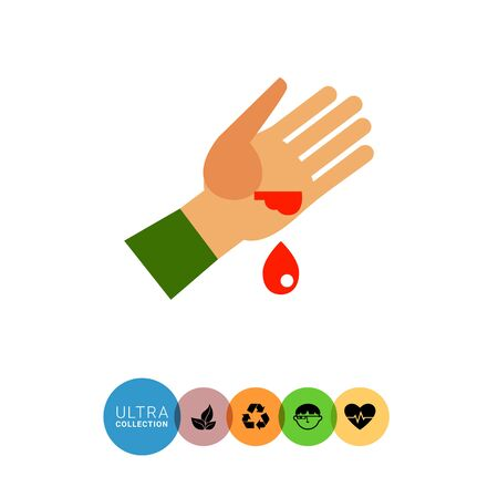 wound: Multicolored vector icon of wounded human palm and blood drop