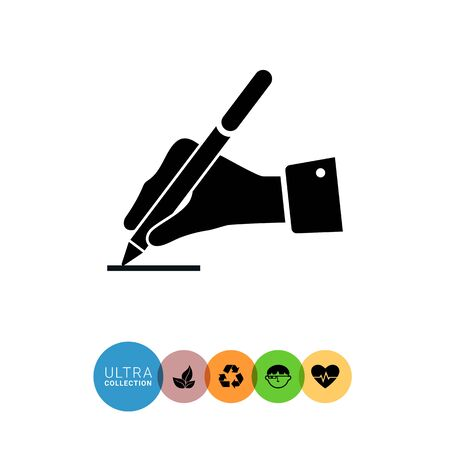 signing papers: Icon of man's hand writing with pen Illustration