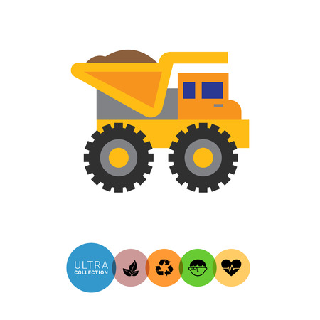 dumping: Multicolored vector icon of yellow loaded dump truck