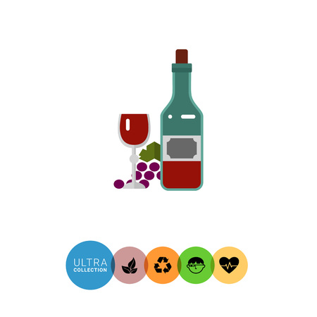 closed corks: Multicolored vector icon of closed wine bottle, glass with grape bunch