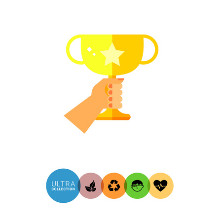 succeeding: Multicolored flat icon of human hand holding golden winner cup