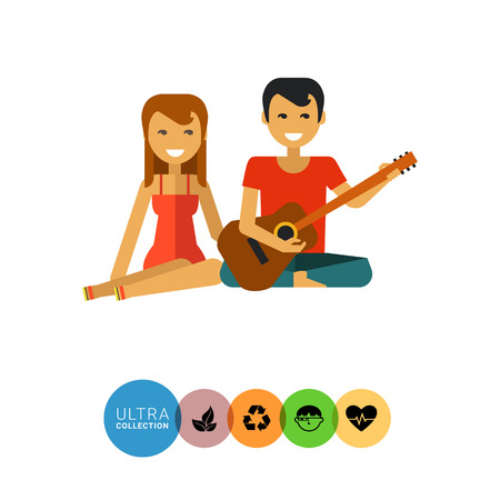 man long hair: Multicolored vector icon of woman sitting and man playing guitar Illustration