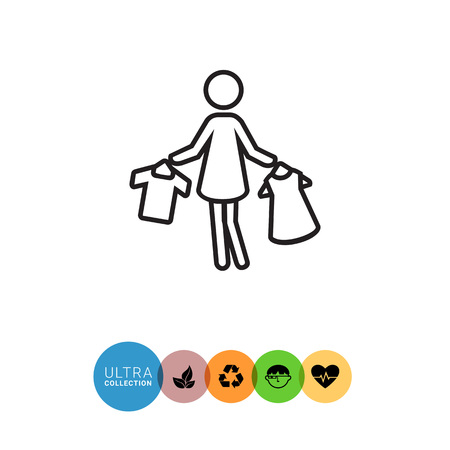 hangers: Icon of woman�s silhouette holding clothes on hangers Illustration