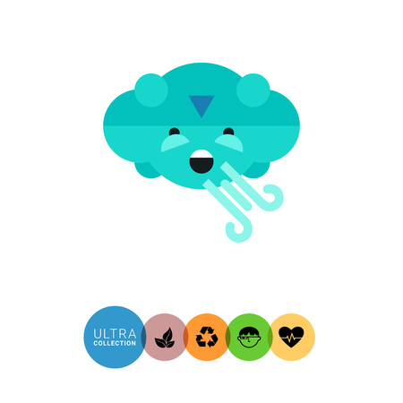 blowing: Multicolored vector icon of cloud blowing strong wind
