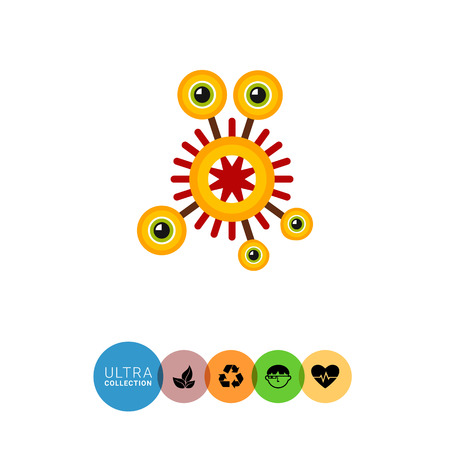 cilia: Virus cartoon character flat icon. Multicolored vector illustration of strange bacterium with five eyes