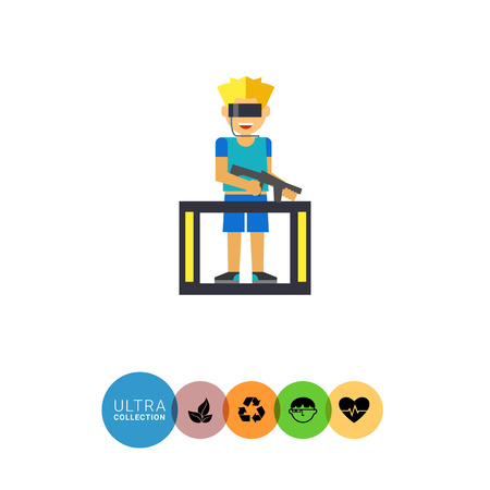 blaster: Multicolored flat icon of man in special glasses and with blaster playing VR game
