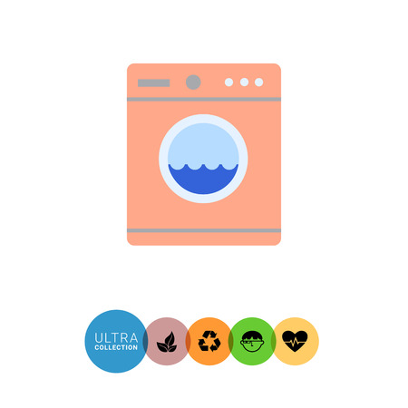 rinsing: Icon of pink washing machine with water in drum