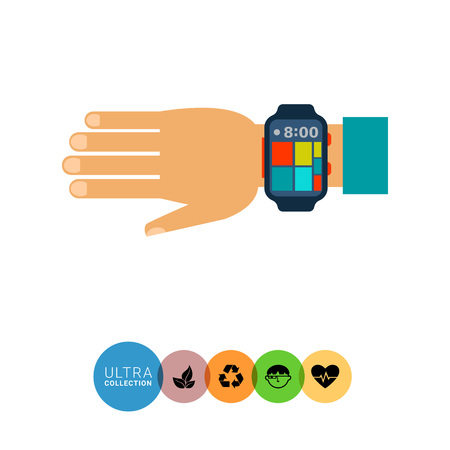 computerized: Multicolored flat icon of wearable smartwatch on human hand Illustration
