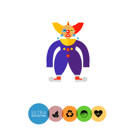 clown shoes: Icon of sad crying clown in colorful costume Illustration