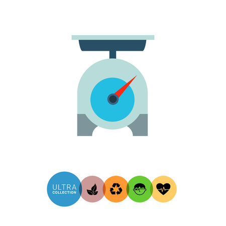 weighing scales: Multicolored vector icon of grey weighing scales