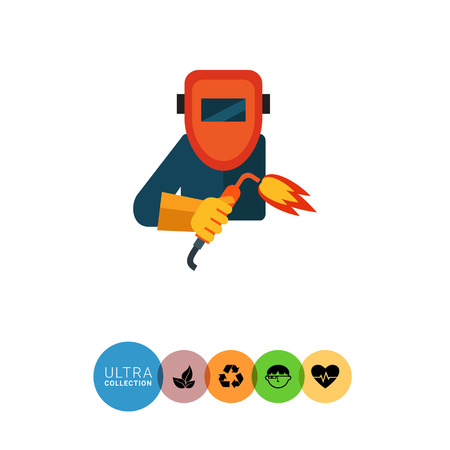 protective mask: Multicolored vector icon of welding worker wearing protective mask