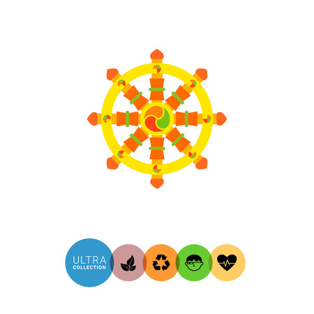 auspicious sign: Multicolored vector icon of Indian symbol wheel of Dharma