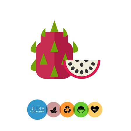 protuberance: Multicolored vector icon of whole fruit pitahaya and cut piece Illustration