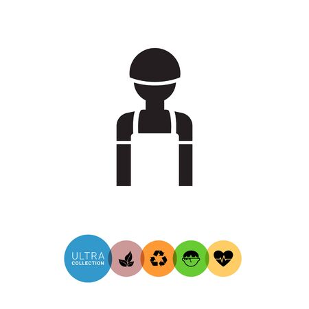 hardhat icon: Icon of man�s silhouette wearing overalls and hardhat