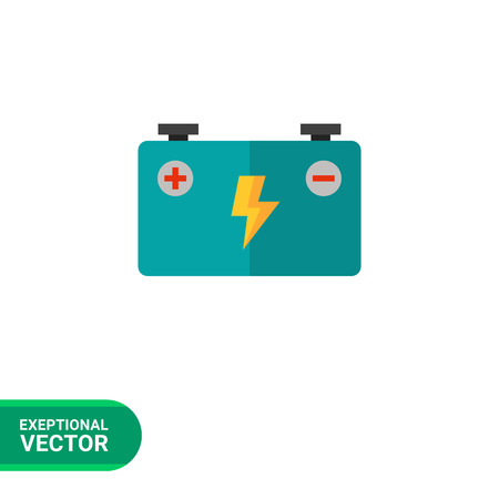 accumulator: Multicolored vector icon of big blue accumulator battery