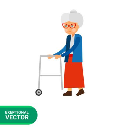 aging: Aging vector icon. Multicolored illustration of elderly woman with rolling walkers