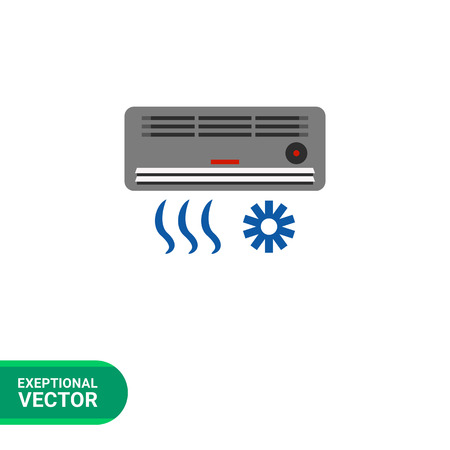 humid: Multicolored vector icon of air conditioning device with air flow and cold sign Illustration