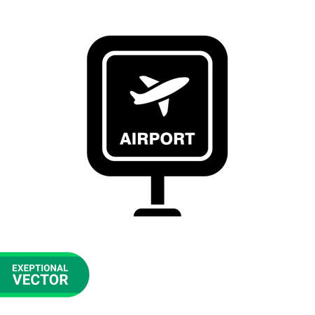 airport sign: Icon of airport sign with airplane picture