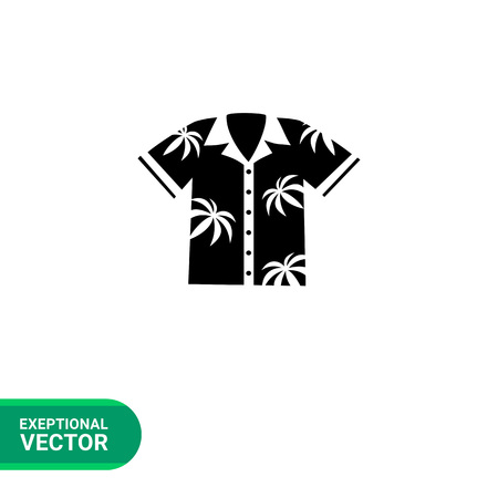 spend the summer: Monochrome vector icon of Hawaiian Aloha shirt with palm print