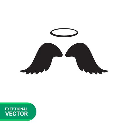 Vector icône ailes d'ange avec Halo Vecteurs