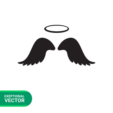 halo: Vector icon of angel wings with halo