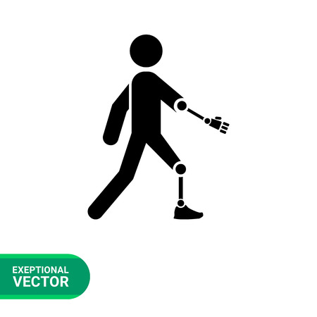 amputated: Amputated arm and leg simple icon. Vector illustration of person with amputated arm and leg Illustration