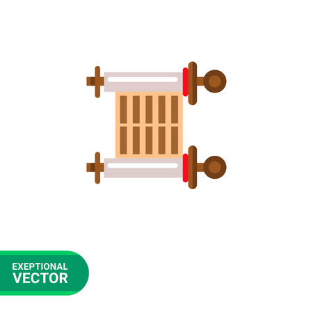 tora: Multicolored vector icon of ancient parchment scroll