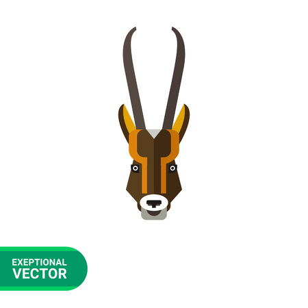 antelope: Multicolored vector icon of antelope head with long horns