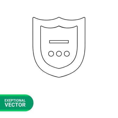three points: Vector line icon of shield with line and three points in frame representing antivirus concept
