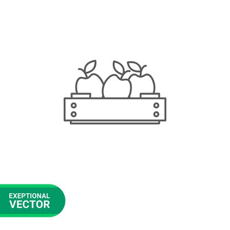 wooden crate: Icon of apples in wooden crate