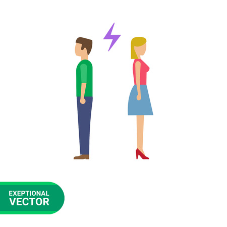 turning: Icon of man and woman turning back to each other with lightning sign between them Illustration