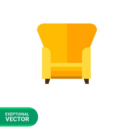 backrest: Multicolored vector icon of yellow armchair with tall backrest